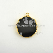 Best Quality Snowflake Obsidian Slice Gemstone Bezel Charm, 925 Sterling Silver Micron Gold Plated Bezel Charm Suppliers