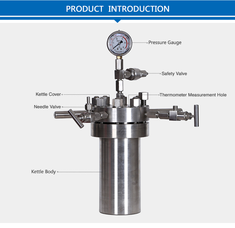 Lab Simple Stainless Steel Synthesis Reactor Pressure Vessel