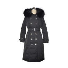 2020 winter warm women real raccoon fur hooded solid 100% polyester down coat