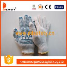 Gants en tricot coton / polyester bleu PVC points un côté avec logo (DKP152)