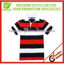 Camisa de listra de material de piqué de alta qualidade com gola