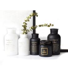 Custom Luxury home decoration matte black and white glass bottle for gift