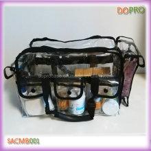 Большие размеры ПВХ Косметическая сумка PRO Clear Makeup Train Case (SACMB001)