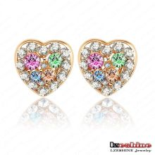 Swa Elements Crystal Heart Stud Earring for Women (ER0025-C)