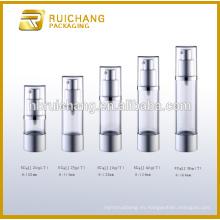 Botella airless de aluminio de 20ml / 25ml / 30ml / 40ml / 50ml para la crema cosmética de la loción, botella airless cosmética de aluminio