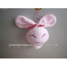 Фаршированная розовая плюшевая кроличья цепочка для ключей