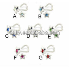 """""""7"""" shape stainless steel nose rings body piercing with star bottom"""