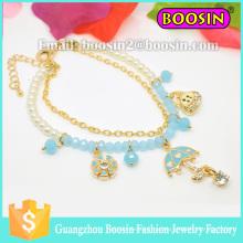 Pulseiras de miçangas bonitas da moda europeia / pulseira elástica de flor de cristal