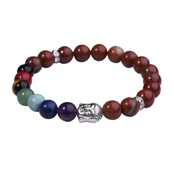 Red Jasper Bracelet Buddha 7 Chakra Gemstone Alloy Beads Jewelry