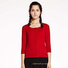 Suéter de la rebeca de la cachemira de las mujeres 12gg al por mayor
