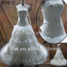 RSW73 High Quality Gorgeous Pleated Nets Lace A-Line Puffy Wedding Dress