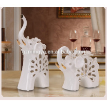 High class business gift office decoration ornament elephant ceramic material statue