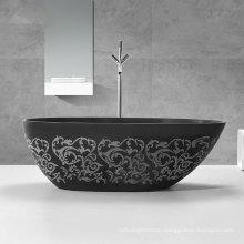 custom made Black carve patterns bath tub bathroom stone resin solid surface free stand bathtub