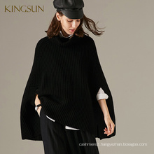 Classic European Style 100% Wool Poncho For Women Oversize Knitted Sweater High Quality Clothes Maed in China