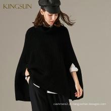 Classic European Style 100% Poncho de lã para mulheres de malha de malha oversized Maquê de roupas de alta qualidade na China