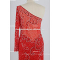 Wholesale One Shoulder Crystal Beaded Evening Dress See Through Formal Party Dress Satin Chiffon Dress