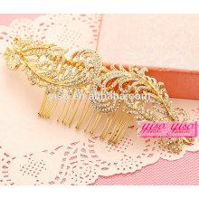 Fancy oro hoja boda cristal claro peines tiaras