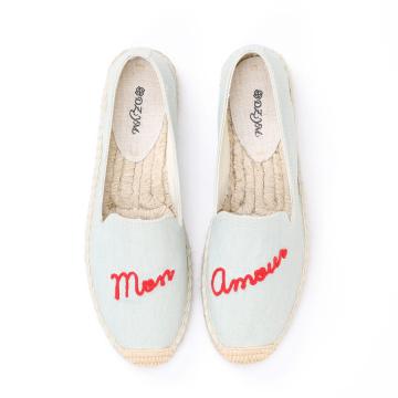 Нашивка с вышивкой английских букв женская парусиновая обувь на плоской подошве