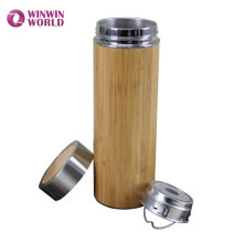 Hot Selling In Amazon Wide Mouth Double Wall Vacuum Insulated Bamboo Travel Stainless Steel Tea Cup Mug With Tea Infuser