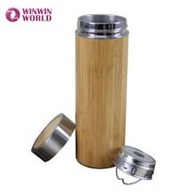 Venda quente Na Amazon Boca Larga Parede Dupla Vacuum Isolada De Bambu de Viagem Caneca de Chá De Aço Inoxidável Com Chá Infusor