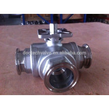 Stainless Steel 3 way ball valves clamp End