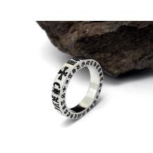 Anéis de jóias de moda cor prata titanium clássico de aço