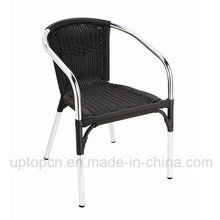 Black Outdoor Rattan Chair with Armrest for Coffee Shop (SP-OC763)