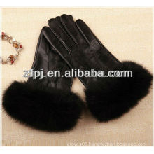 New style red and black dress Leather Glove with fox cuff