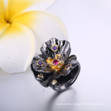 Hot Selling Latest Design Finger Rings Flower Shape Wedding Rings Black & Gold Color Rings China Sales