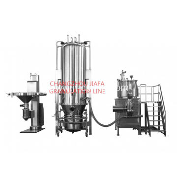Fluid bed mixing drying granulator line