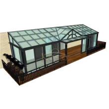 Casa pré-fabricada de vidro da venda de madeira do Sunroom do quadro