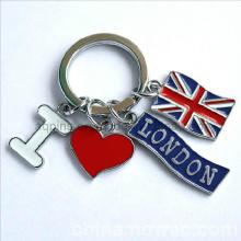 Corrente chave do esmalte com logotipo do país