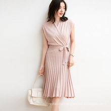 Over-The-Knee Dress 2020 New French Elegant Cross-Neck Retro Slimming Lace Bottoming Knitted Pleated Skirt 2020 Summer Dresses