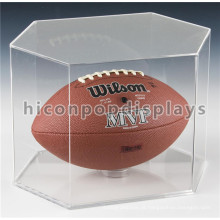 Qualidade Assured Table Top Custom Hexagon Shape Clear Acrílico Football Display Case Atacado