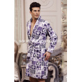Super Soft  Printed Fleece Men's Bathrobe