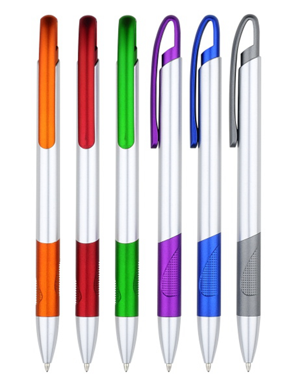 Silver Plastic Ball Pen with Ergonomic Grip
