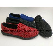Chaussures chaudes de toile de vente de vente, chaussures de loisirs d'injection pour des hommes, chaussures respirables de toile de glissement sur