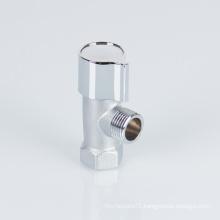 Taizhou Yuhuan 1 2 inch bathroom brass angle valve with plastic handle brass ceramic cartridge