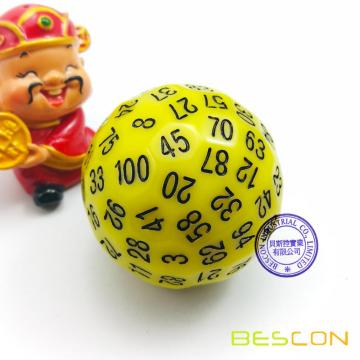 Bescon Polyhedral Dice 100 Sides Dice, D100 die, 100 Sided Cube, D100 Game Dice, 100-Sided Cube of Yellow Color