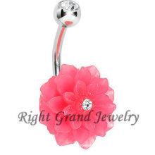 Blühen Sie Crystal Bauch Banane Ring rosa Harz gefälschte Nabel Ringe