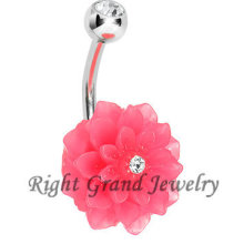 Bloom Crystal Belly Banana Ring Rosa Harz Gefälschte Nabel Ringe