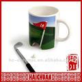 Bandera y taza de golf de cerámica, golf poniendo la taza, taza de golf verde