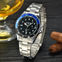 Automatic waterproof steel black dial men watch