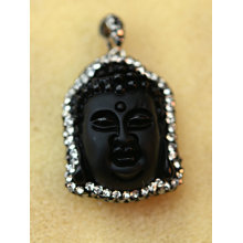 Fashion Obsidian Stone Buddha Head Pendant Necklace Jewelry with Crystal