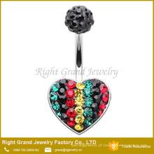 Coração da forma em forma de piçar piercing de aço piercing Crystal Paved Piercing de umbigo
