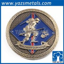 plaqué or métal gravé ronde pièce personnalisée