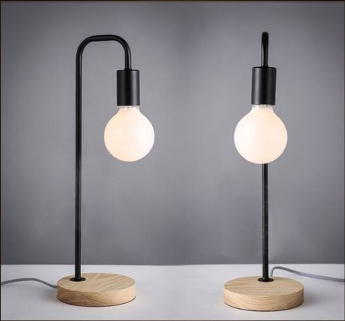 Cafe table decoration wooden desk light