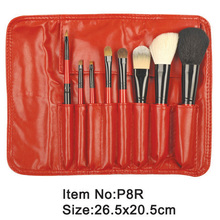 8pcs red plastic handle animal/nylon hair makeup brush tool set with red zipper case