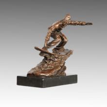 Estatua Deportiva Juguete De Esquí Escultura De Bronce, Nick TPE-788