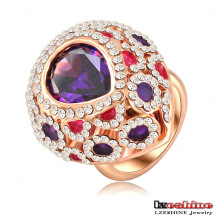 Anel de dedo Amethyst do pavão da cor roxa do vintage (Ri-HQ0011)